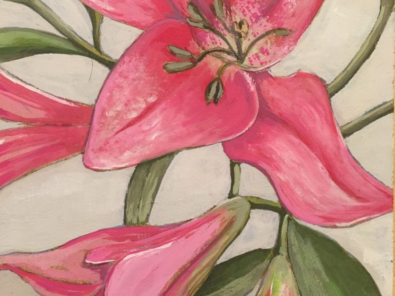Gouache on MDF – Lilies