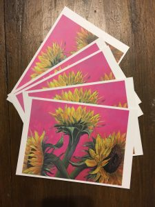 Painting of sunflowers on MDF