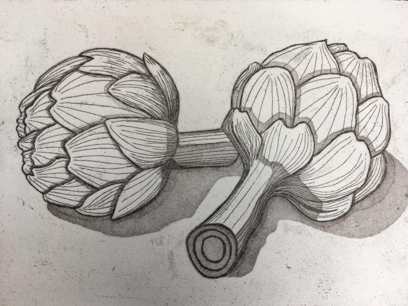 Artichoke etching and aquatint