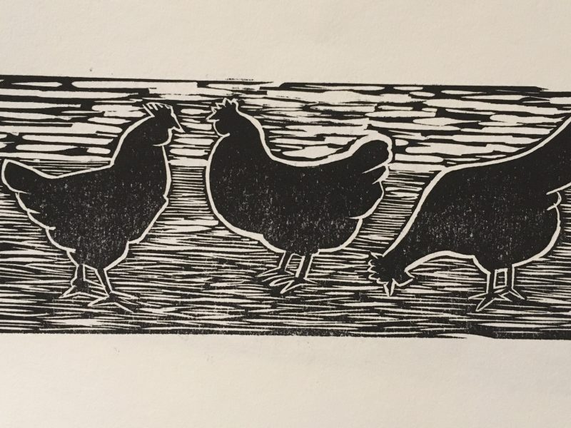 Three French Hens lino