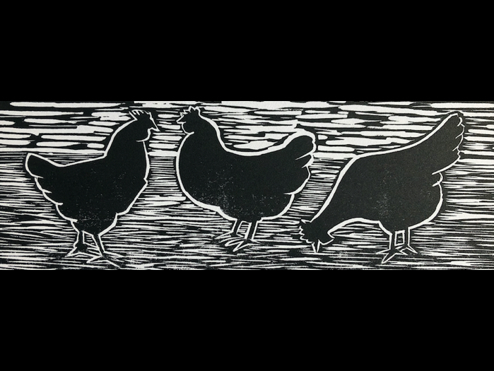 Three French Hens Lino Print