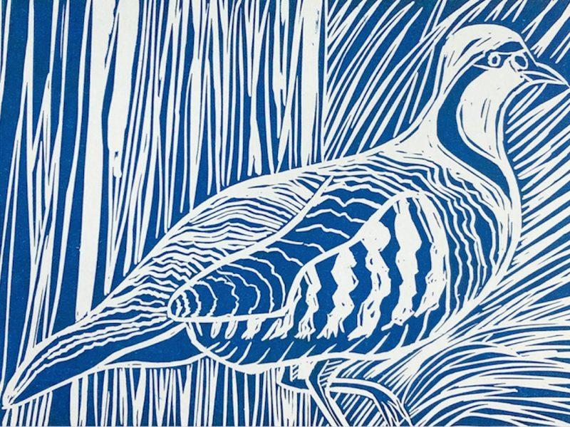 Partridge Lino Print