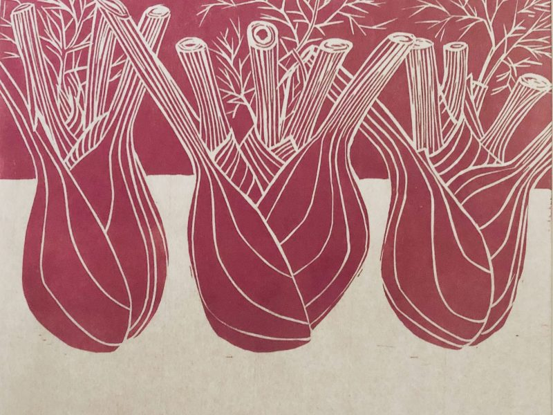 Three fennel lino print