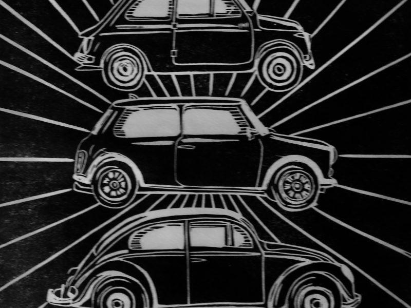 Iconic cars lino print